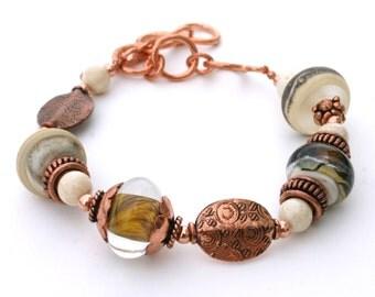 Lampwork Glass Bracelet, Adjustable Length