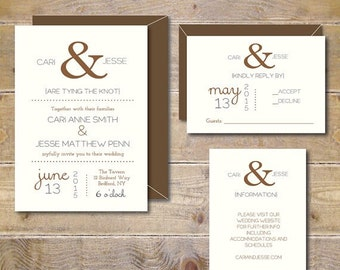 Ampersand Wedding Invitations, Rustic Wedding Invitations, Recycled Wedding Invitations, Wedding Invitations, Ampersand Wedding - Ampersand