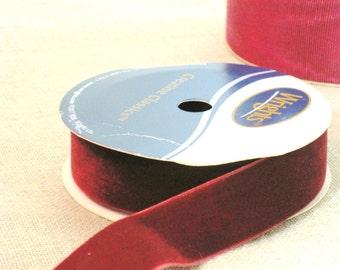 Velvet Ribbon , Cranberry , Burgundy , Christmas Ribbon , Ribbon , Craft Ribbon , Sewing Supplies , Craft Supplies , Supply , Holiday Decor
