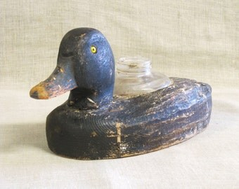 Vintage Folk Art Duck Decoy, Hand Carved, Wood Carvings, Inkwell, Hunting, Bird Carving, Primitive, Rustic, Desk Accessories, Antique