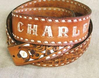 Tooled Leather Belt , Western Style Belt , Western Wear , Handmade , Cutout Leather , Charles , Floral Motif , Handmade Belt , Brown Leather