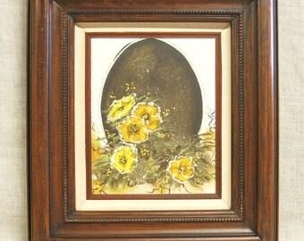Still Life Flower Painting, Surreal Art, Original Fine Art, Floral, Egg, Framed Paintings, Handmade, Warm Palette, Mid-Century, Unusual