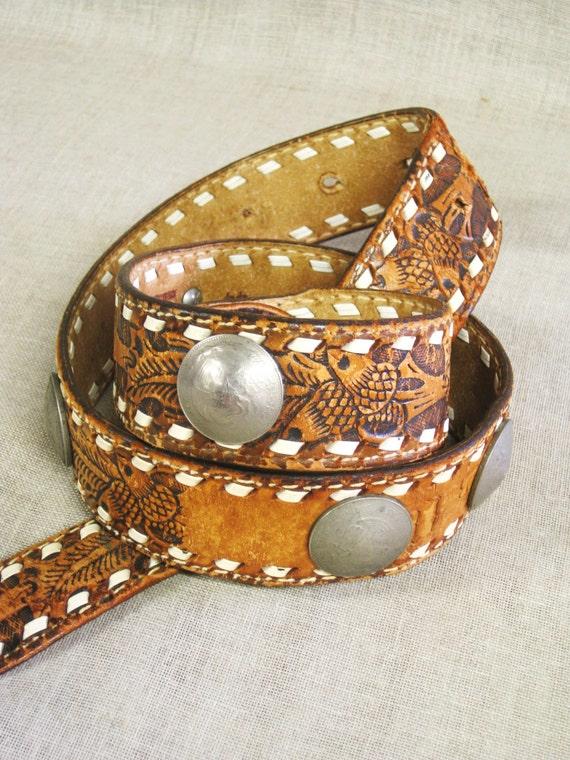 tooled leather belt concha belt western style belt
