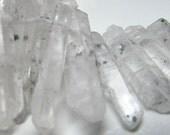 Phantom Quartz Beads 35 X 8mm Rough Cloudy Natural Phantom Quartz Spears - 4 inch Strand