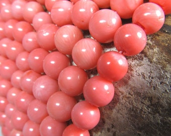 Coral Beads 9mm Lustrous Peach Pink Smooth Rounds  - 12 Pieces