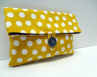 Gold Yellow Polka Dot Clutch Makeup Bag with Gray LIning and Interior - READY TO SHIP
