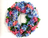 Shabby Chic Wreath * Hydrangea Wreath * Spring Wreath * Summer Wreath * Spring Decor * Summer Decor * Floral Wreath