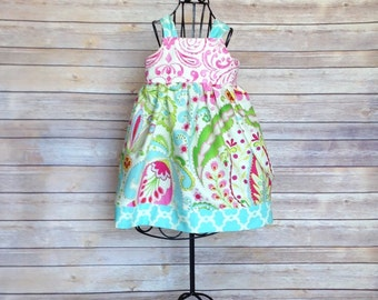 custom order knot dress, Boutique Girls turquoise floral knot dress, sizes 1-12, girls summer dress