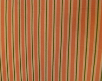 """Vintage 80s Preppy Pink & Green Striped Jay Yang Screen Print Cotton Fabric, 56"""" x 2 YDs"""