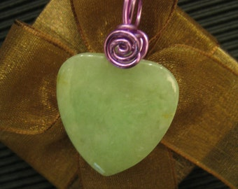 WARM MY HEART ... Natural Jade ... Aluminum wire wrapped Pendant