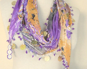 Purple - Orange - grey scarf  Silk fabric scarf  handmade scarf - turkish scarf - oya scarf -