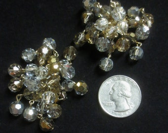 Vintage 1950's Clear & Topaz Aurora Borealis Earrings Sparking Fringed Clip On Holiday Jewels