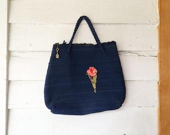 SALE vintage small handbag, crochet purse, navy blue woven bag