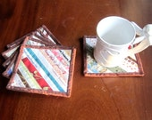 """Quilted Coasters """"Striped Selvedges"""" Set of 6, Quiltsy Handmade, Small Hotpads, Coffee Mug Rugs"""