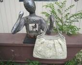 "Quilted Handbag ""Elephants"" Pleated Beige Purse, Fabric Handbag, Quiltsy Handmade"