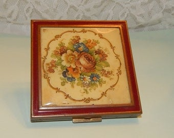 Floral Print Compact by Zell 5th Ave. Ladies Face Powder Make up with mirror Square vanity tray decor