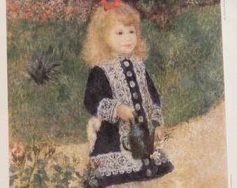A Girl with a Watering Can by Pierre August Renoir Vintage print from ''My Weekly Reader Art Gallery 2''