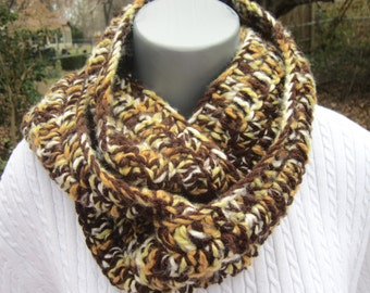 Sale Brown and Yellow Crochet Infinity Scarf, Neutral Winter Wear, Bulky Soft Multicolor Neckwarmer, Gifts Under 30 READY TO SHIP