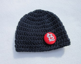 Navy Hat with St. Louis Cardinals Button, MADE TO ORDER by Charlene, Photo Prop, St. Louis Cardinal Inspired, Baby Hat, Simple Adult Beanie