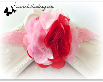 Pink and Red Flower Headband