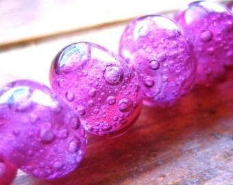 Dark Pink Bubble Lampwork Beads, FHFteam, SRA, UK Seller