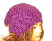 Plumb Purple Slouchy Crochet Hat, Womans Accessories, Crochet Beanie, Winter Hat, Purple Hat