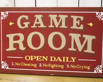 Game Room Sign/Man Cave/Christmas Gift/YOU choose Colors/Game Room/Male Gift/Wood Sign/Hand Painted/Wood Sign/No Cheating/Cryin