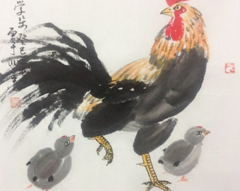 rooster painting chinese traditional painting Original paintings   oriental art watercolour-lovely rooster with baby  No.15