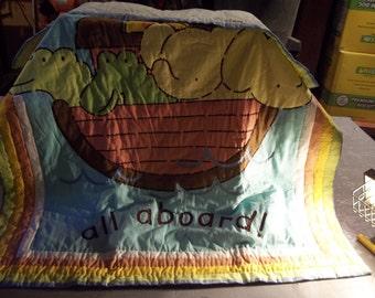 Handmade Crib Quilt Hand Stitched Noahs Ark