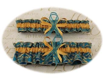 Blue and Gold Wedding Garter Set