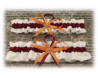 Satin Virginia Tech Hokies Inspired Wedding Garter Set, Bridal Garter, Prom Garter   (Your Choice, Single or Set)