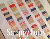 PATTERN Scrappy Coins Quilt...easy, multiple sizes, uses charm squares or jelly rolls-- PDF version