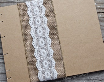 Burlap and Lace Guest Book or Photo Album, Rustic Wedding Guest Book, LARGE 10x8 {READY to SHIP}