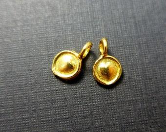 Handmade 24K Gold Vermeil over 925 Sterling Silver Little Heart Medallion Charm Pendant - 8x5 mm - PC-0056