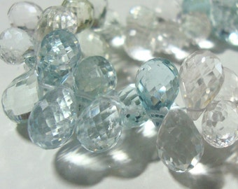 Natural Multi Light Color Aquamarine Faceted Teardrop Briolette bead, 1/2 strand, 9.5-11x6-7mm - March BirthStone - m15-2