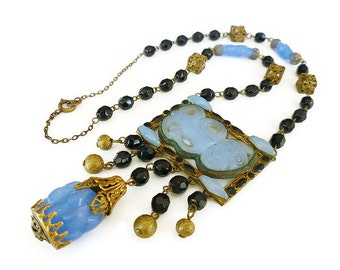 Art Deco Czech Necklace Chalcedony Blue Jet Black Glass Gold Filigree Antique Jewelry