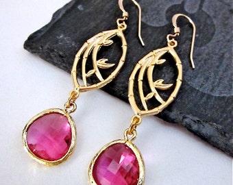 Fuchsia Pink Earrings -- Bamboo Earrings -- Bright Pink Dangles -- Bright Pink Drop Earrings -- Hot Pink & Gold Earrings -- Pink Drops