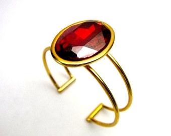 Red Cuff Bracelet -- Red Swarovski Bracelet -- Red Crystal Cuff -- Red & Gold Cuff Bracelet -- Red Oval Bracelet -- Red Bling Bracelet