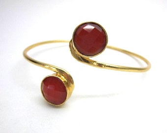 Orange & Gold Bracelet -- Orange Cuff -- Orange Gem Bracelet -- Adjustable Gemstone Bangle -- Gold Orange Bangle Bracelet -- Carnelian Cuff