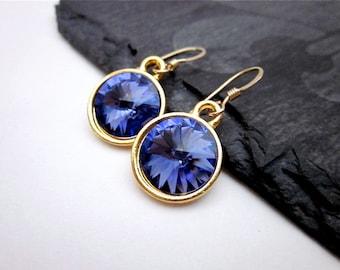 Purple Crystal Dangle Earrings -- Gold & Purple Crystal Earrings -- Tanzanite Drop Earrings -- Tanzanite Swarovski Earrings -- Purple Drops