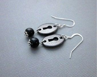 Keyhole Earrings -- Black Obsidian Earrings -- Keyhole Jewelry -- Obsidian Dangle Earrings