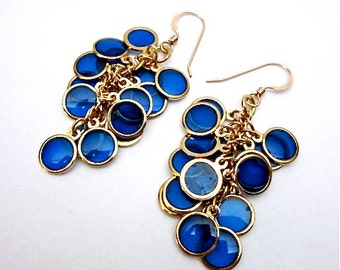Blue Drop Earrings -- Unique Blue Dangles -- Blue Cluster Earrings -- Blue Dot Earrings -- Epoxy Earrings -- Blue Disc Earrings --Blue Drops