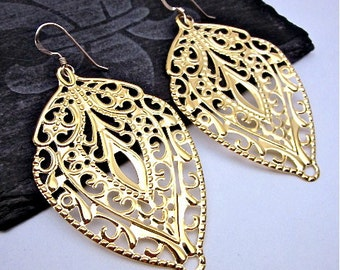 Large Gold Drops -- Gold Filigree Earrings -- Filigree Metal Earrings -- Metal Stamp Earrings -- Unique Gold Earrings