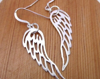 Silver Angel Wing Earrings -- Wing Earrings -- Guardian Angel Earrings -- Angel Wing Earrings -- Wing Dangles -- Silver Wing Jewelry