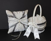 Pewter & Ivory or White Wedding Ring Bearer Pillow Flower Girl Basket 2 Piece Set