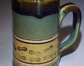 Bicycle, Bike Chain, Mug, Mountain Bike, Bike Coffee Mug, Bike Tea Mug, Bike Chain Beer Mug, Green Bike Mug, Stoneware Mug,