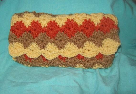 CLEARANCE Crocheted Bag Pencil Case Makeup Bag  Paolo Purse Autumn Colors