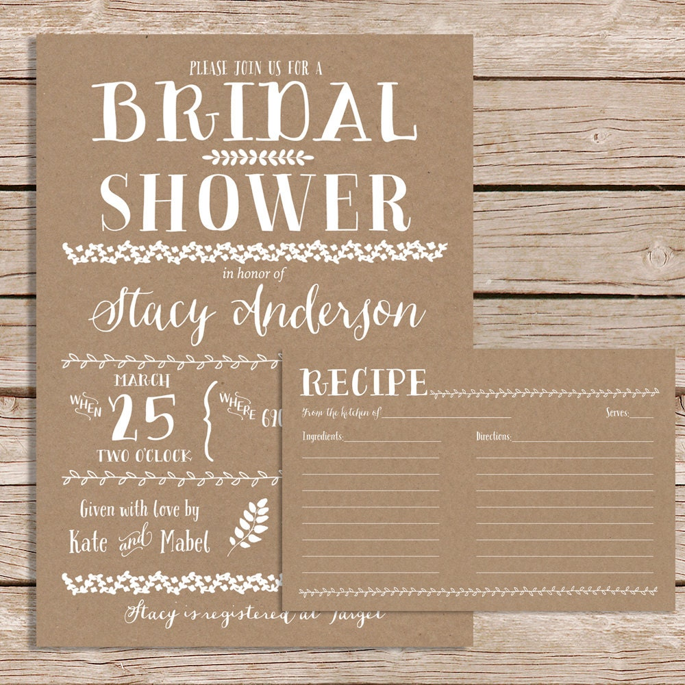 rustic bridal shower invitation with recipe card vintage