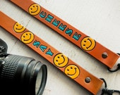 Ready To Ship - Leather Camera Strap - Say Cheese - Happy Smiley Face - Hand Stamped Leather - Mesa Dreams Leather