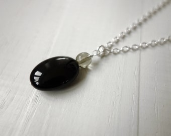 Black pendant necklace black onyx necklace onyx pendant necklace chain necklace minimalist necklaces for women